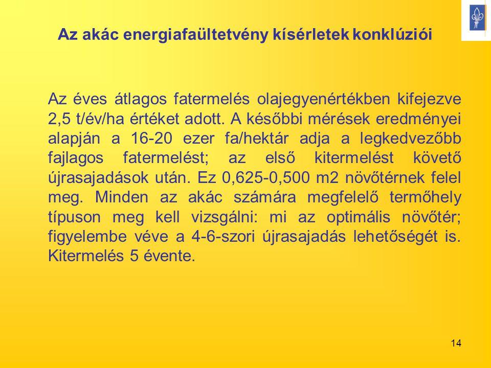 14 Az akác energiafaültetvény kísérletek konklúziói Az éves átlagos fatermelés olajegyenértékben kifejezve 2,5 t/év/ha értéket adott. A későbbi mérése