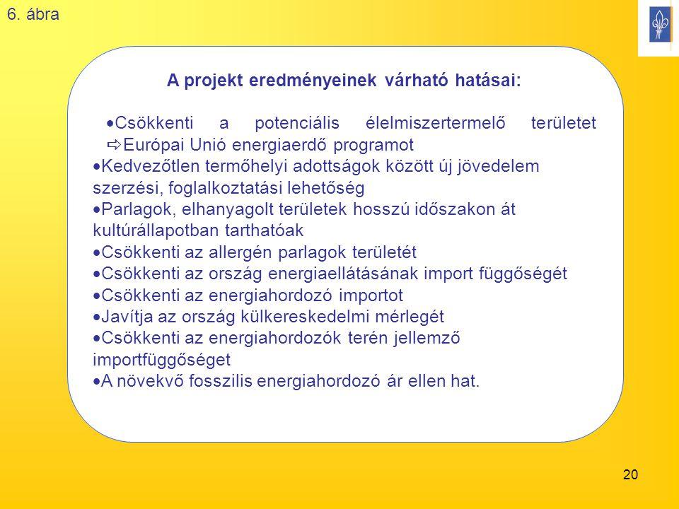 20 A projekt eredményeinek várható hatásai:  Csökkenti a potenciális élelmiszertermelő területet  Európai Unió energiaerdő programot  Kedvezőtlen termőhelyi adottságok között új jövedelem szerzési, foglalkoztatási lehetőség  Parlagok, elhanyagolt területek hosszú időszakon át kultúrállapotban tarthatóak  Csökkenti az allergén parlagok területét  Csökkenti az ország energiaellátásának import függőségét  Csökkenti az energiahordozó importot  Javítja az ország külkereskedelmi mérlegét  Csökkenti az energiahordozók terén jellemző importfüggőséget  A növekvő fosszilis energiahordozó ár ellen hat.