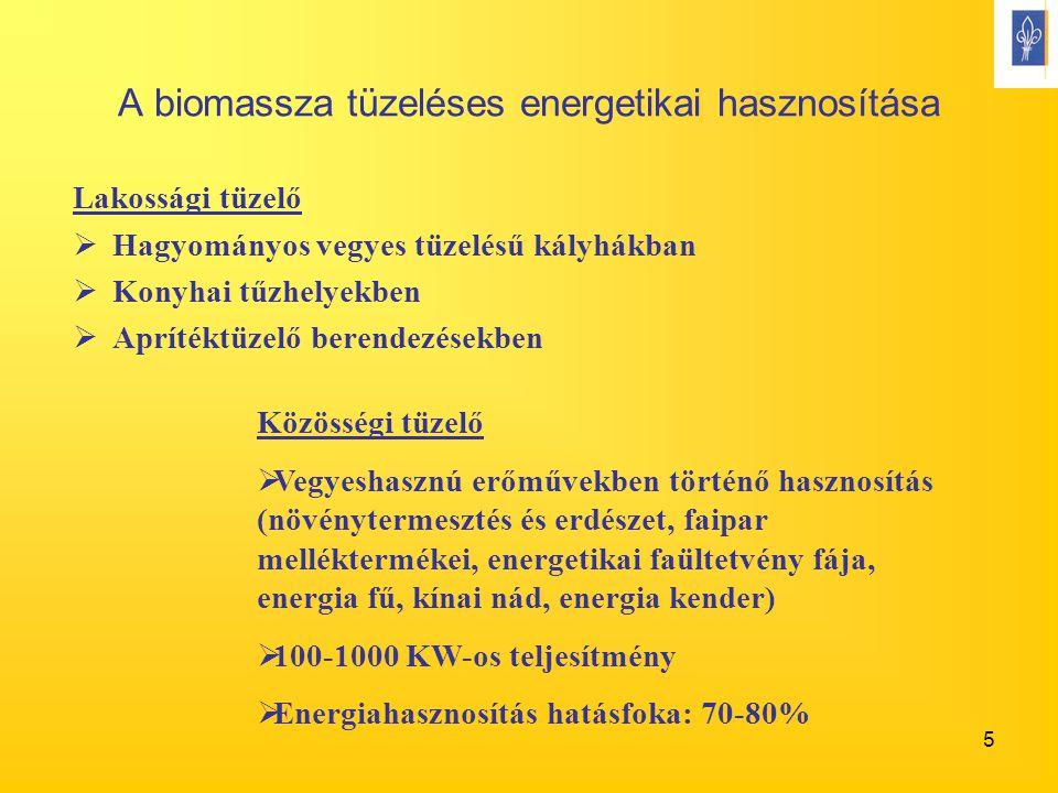 5 A biomassza tüzeléses energetikai hasznosítása Lakossági tüzelő  Hagyományos vegyes tüzelésű kályhákban  Konyhai tűzhelyekben  Aprítéktüzelő bere