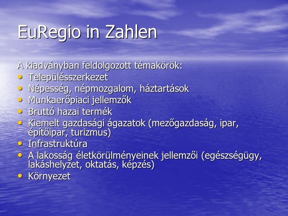 Az Euregio West/Nyugat Pannonia néhány adata, 2009 Megnevezés EuRegio összesen Burgen- land Nyugat- Dunántúl Ezen belül Győr- Moson- Sopron VasZala megye Terület, km² 15 2943 96611 3284 2083 3363 784 Települések száma 826171655182216257 Népesség, ezer fő 1 280284996448259289 Bruttó hazai termék, millió euro 16 5136 22010 2935 3292 4172 547 Foglalkoztatottak száma, ezer fő 541135406188102116 Lakásállomány, ezer 531112419182110126