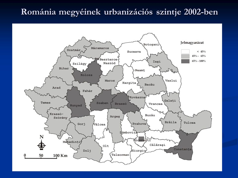 Románia megyéinek urbanizációs szintje 2002-ben