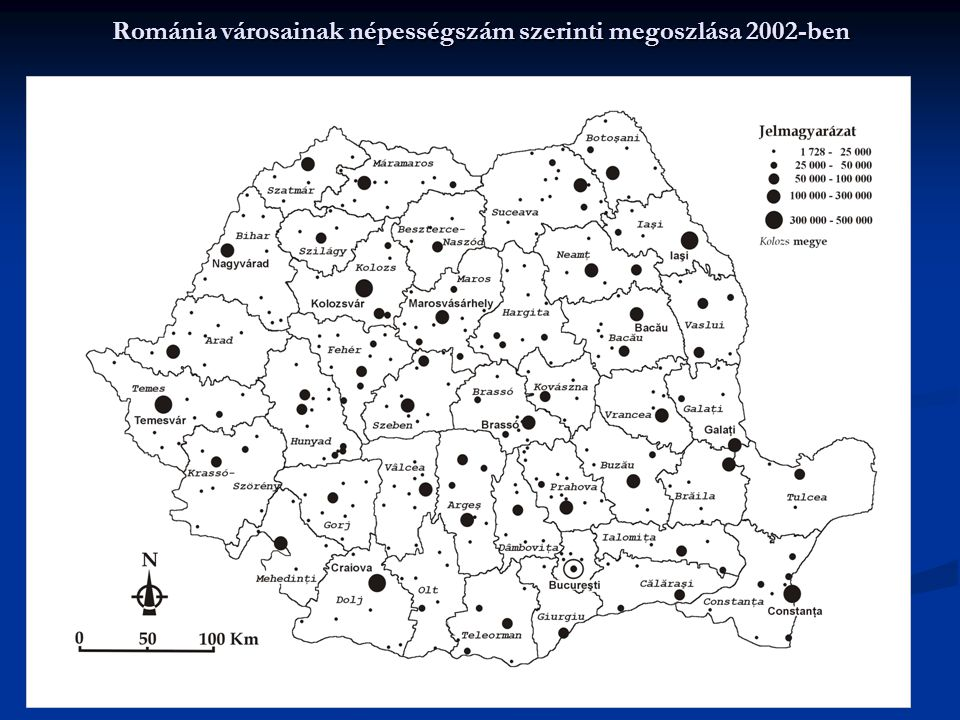 Románia városainak népességszám szerinti megoszlása 2002-ben