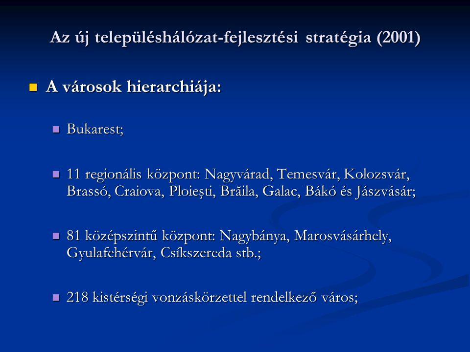 Az új településhálózat-fejlesztési stratégia (2001) A városok hierarchiája: A városok hierarchiája: Bukarest; Bukarest; 11 regionális központ: Nagyvárad, Temesvár, Kolozsvár, Brassó, Craiova, Ploieşti, Brăila, Galac, Bákó és Jászvásár; 11 regionális központ: Nagyvárad, Temesvár, Kolozsvár, Brassó, Craiova, Ploieşti, Brăila, Galac, Bákó és Jászvásár; 81 középszintű központ: Nagybánya, Marosvásárhely, Gyulafehérvár, Csíkszereda stb.; 81 középszintű központ: Nagybánya, Marosvásárhely, Gyulafehérvár, Csíkszereda stb.; 218 kistérségi vonzáskörzettel rendelkező város; 218 kistérségi vonzáskörzettel rendelkező város;