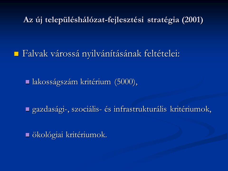 Az új településhálózat-fejlesztési stratégia (2001) Falvak várossá nyilvánításának feltételei: Falvak várossá nyilvánításának feltételei: lakosságszám kritérium (5000), lakosságszám kritérium (5000), gazdasági-, szociális- és infrastrukturális kritériumok, gazdasági-, szociális- és infrastrukturális kritériumok, ökológiai kritériumok.