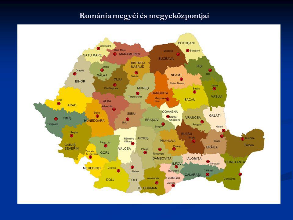 Románia megyéi és megyeközpontjai