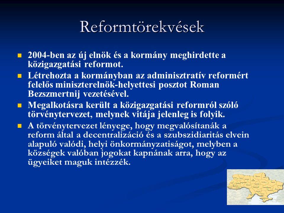 Reformtörekvések 2004-ben az új elnök és a kormány meghirdette a közigazgatási reformot. Létrehozta a kormányban az adminisztratív reformért felelős m