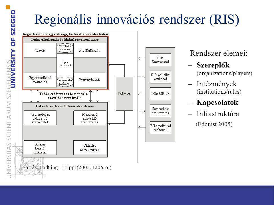 Regionális innovációs rendszer típusai Tipizálás dimenziója Innovációs potenciál Irányítás módja Üzleti szféra innovációs folyamatai Kapcsolatok irányultsága Innováció korlátai Fontosabb szerzők Cooke Cooke, Braczyk Cooke Asheim, Coenen Isaksen, Töddtling, Trippl Típusok Erős potenciál a valódi RIR kiépítésére Helyi, alulról építkező (grassroots) Helyi orientációjú (localist) Területileg beágyazott (territorrially embedded) Szervezeti (intézményi) gyengeséggel bíró (organizational thinness) Közepes potenciál a valódi RIR kiépítésére Hálózati (network) Interaktív (interactive) Regionális hálózati (regionally networked) Széttöredezett (fragmented) Gyenge potenciál a valódi RIR kiépítésére Központi irányítású (dirigiste) Globalizált (globalized) Regionalizált nemzeti (regionalized national) Bezáródott (lock-in) Forrás: saját szerkesztés Cooke (2004), Asheim – Coenen (2005),Tödtling – Trippl (2005) alapján