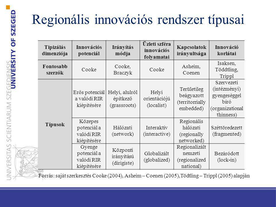 Regionális innovációs rendszer típusai Tipizálás dimenziója Innovációs potenciál Irányítás módja Üzleti szféra innovációs folyamatai Kapcsolatok irány
