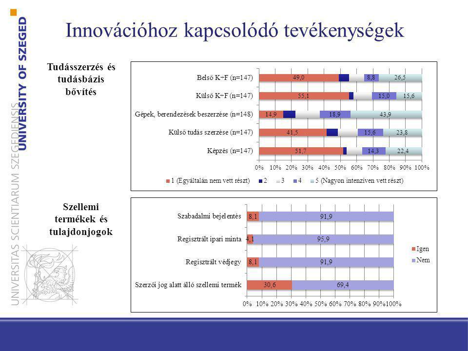 Innovációhoz kapcsolódó tevékenységek Tudásszerzés és tudásbázis bővítés Szellemi termékek és tulajdonjogok
