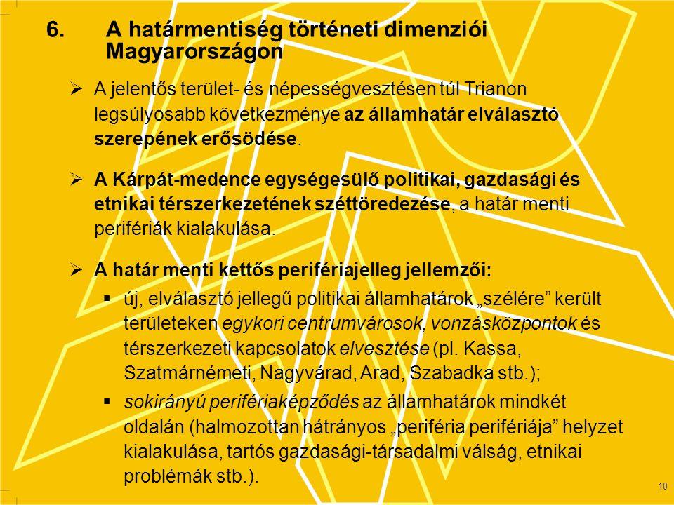 11 A trianoni békeszerződés következtében vonzásközpontjukat vesztett területek Magyarországon