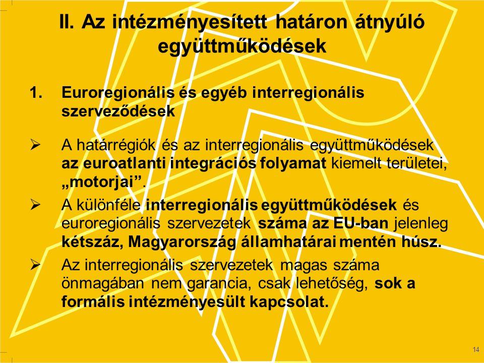 14 II.Az intézményesített határon átnyúló együttműködések 1.
