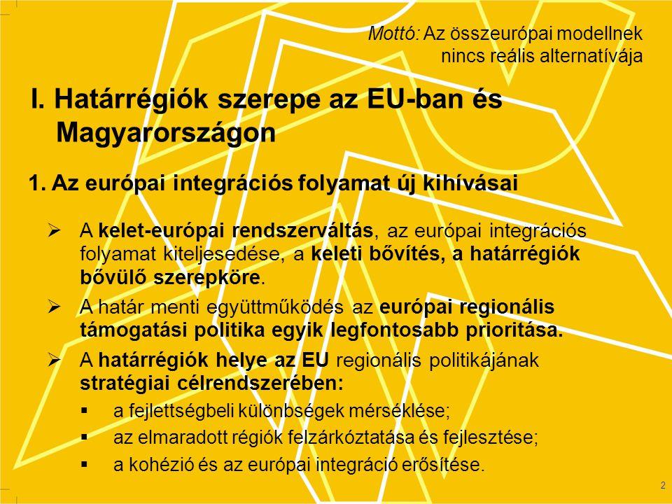 3 2.Határrégiók növekvő jelenléte a terjeszkedő Európában –Az 1989/90-es rendszerváltás és a keleti bővítés nyomán új államalakulatok, korábbi térszerkezeti egységek felbomlása, új határrégiók születése → az EU területének 46%-a határrégió, ahol a népesség mintegy harmada (32,2%) él.