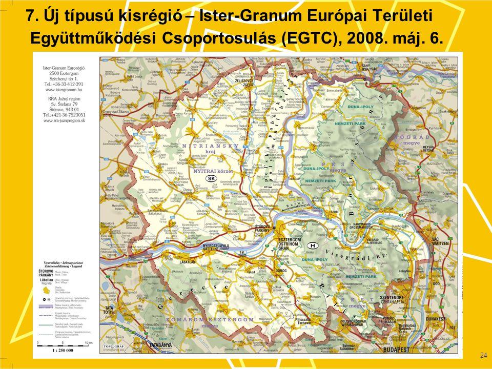 24 7.Új típusú kisrégió – Ister-Granum Európai Területi Együttműködési Csoportosulás (EGTC), 2008.