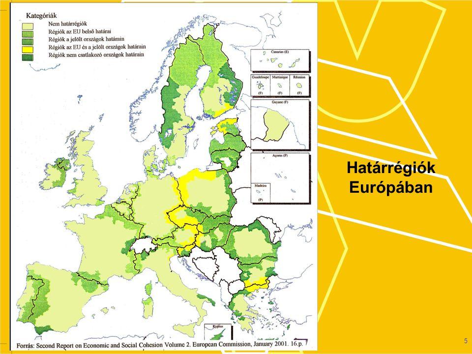 Forrás: MTA RKK Debreceni Osztály Néhány határsűrűsödési metszéspont Európában 60- 100 km-es körzetben