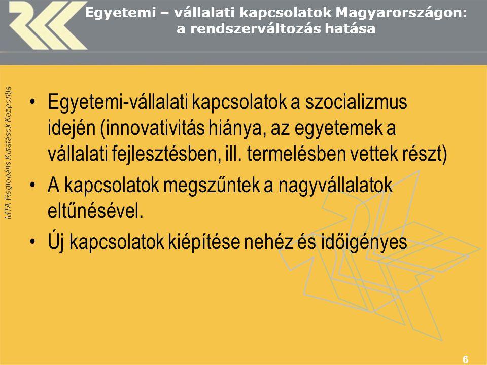 MTA Regionális Kutatások Központja 6 Egyetemi – vállalati kapcsolatok Magyarországon: a rendszerváltozás hatása Egyetemi-vállalati kapcsolatok a szocializmus idején (innovativitás hiánya, az egyetemek a vállalati fejlesztésben, ill.