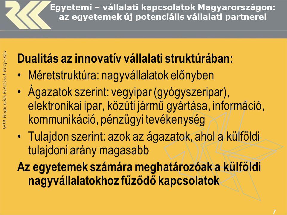 MTA Regionális Kutatások Központja 7 Egyetemi – vállalati kapcsolatok Magyarországon: az egyetemek új potenciális vállalati partnerei Dualitás az innovatív vállalati struktúrában: Méretstruktúra: nagyvállalatok előnyben Ágazatok szerint: vegyipar (gyógyszeripar), elektronikai ipar, közúti jármű gyártása, információ, kommunikáció, pénzügyi tevékenység Tulajdon szerint: azok az ágazatok, ahol a külföldi tulajdoni arány magasabb Az egyetemek számára meghatározóak a külföldi nagyvállalatokhoz fűződő kapcsolatok