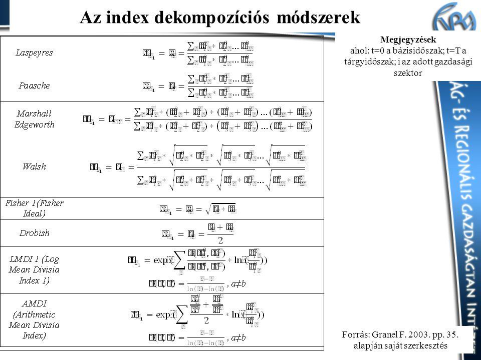 Az index dekompozíciós módszerek Megjegyzések ahol: t=0 a b á zisidőszak; t=T a t á rgyidőszak; i az adott gazdas á gi szektor Forr á s: Granel F.