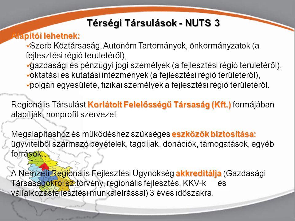 Alapítói lehetnek: Szerb Köztársaság, Autonóm Tartományok, önkormányzatok (a fejlesztési régió területéről), gazdasági és pénzügyi jogi személyek (a fejlesztési régió területéről), oktatási és kutatási intézmények (a fejlesztési régió területéről), polgári egyesülete, fizikai személyek a fejlesztési régió területéről.