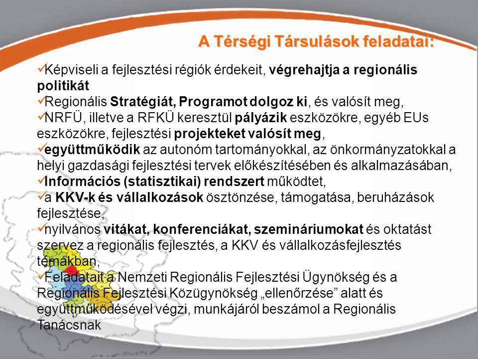 """Képviseli a fejlesztési régiók érdekeit, végrehajtja a regionális politikát Regionális Stratégiát, Programot dolgoz ki, és valósít meg, NRFÜ, illetve a RFKÜ keresztül pályázik eszközökre, egyéb EUs eszközökre, fejlesztési projekteket valósít meg, együttműködik az autonóm tartományokkal, az önkormányzatokkal a helyi gazdasági fejlesztési tervek előkészítésében és alkalmazásában, Információs (statisztikai) rendszert működtet, a KKV-k és vállalkozások ösztönzése, támogatása, beruházások fejlesztése, nyilvános vitákat, konferenciákat, szemináriumokat és oktatást szervez a regionális fejlesztés, a KKV és vállalkozásfejlesztés témákban, Feladatait a Nemzeti Regionális Fejlesztési Ügynökség és a Regionális Fejlesztési Közügynökség """"ellenőrzése alatt és együttműködésével végzi, munkájáról beszámol a Regionális Tanácsnak A Térségi Társulások feladatai:"""