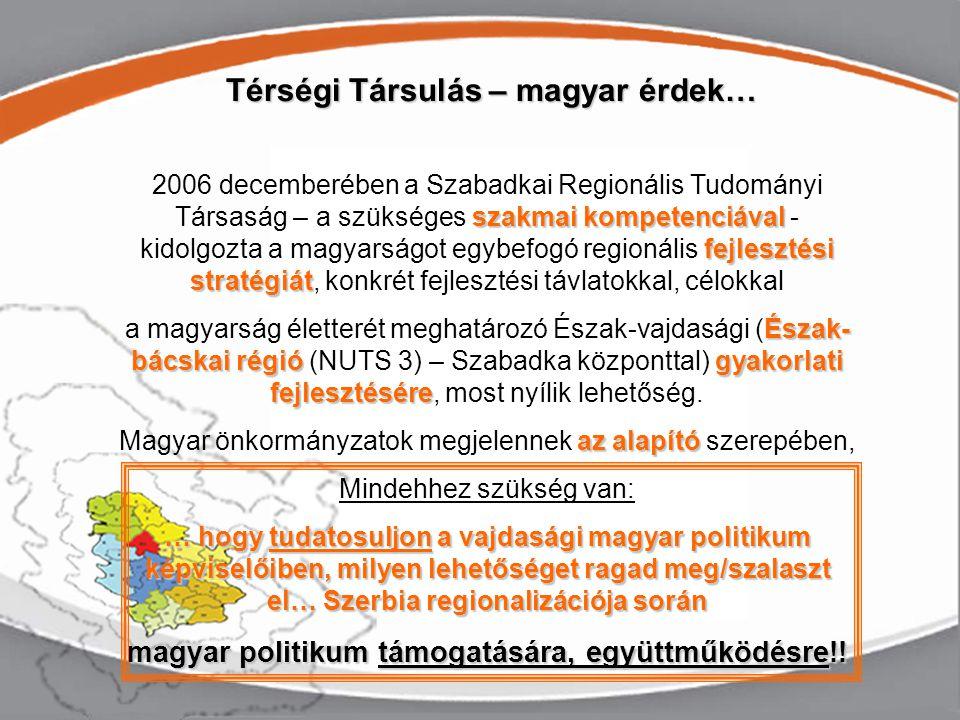 Térségi Társulás – magyar érdek… szakmai kompetenciával fejlesztési stratégiát 2006 decemberében a Szabadkai Regionális Tudományi Társaság – a szükséges szakmai kompetenciával - kidolgozta a magyarságot egybefogó regionális fejlesztési stratégiát, konkrét fejlesztési távlatokkal, célokkal Észak- bácskai régiógyakorlati fejlesztésére a magyarság életterét meghatározó Észak-vajdasági (Észak- bácskai régió (NUTS 3) – Szabadka központtal) gyakorlati fejlesztésére, most nyílik lehetőség.