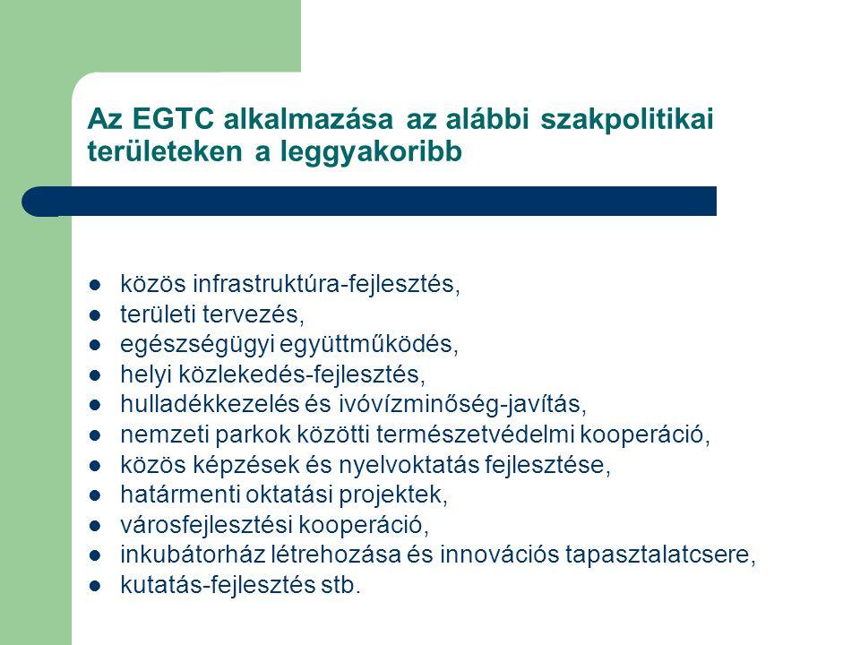 Az EGTC alkalmazása az alábbi szakpolitikai területeken a leggyakoribb közös infrastruktúra-fejlesztés, területi tervezés, egészségügyi együttműködés, helyi közlekedés-fejlesztés, hulladékkezelés és ivóvízminőség-javítás, nemzeti parkok közötti természetvédelmi kooperáció, közös képzések és nyelvoktatás fejlesztése, határmenti oktatási projektek, városfejlesztési kooperáció, inkubátorház létrehozása és innovációs tapasztalatcsere, kutatás-fejlesztés stb.
