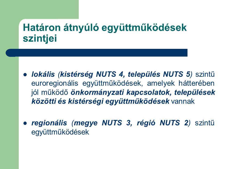 Határon átnyúló együttműködések szintjei lokális (kistérség NUTS 4, település NUTS 5) szintű euroregionális együttműködések, amelyek hátterében jól működő önkormányzati kapcsolatok, települések közötti és kistérségi együttműködések vannak regionális (megye NUTS 3, régió NUTS 2) szintű együttműködések