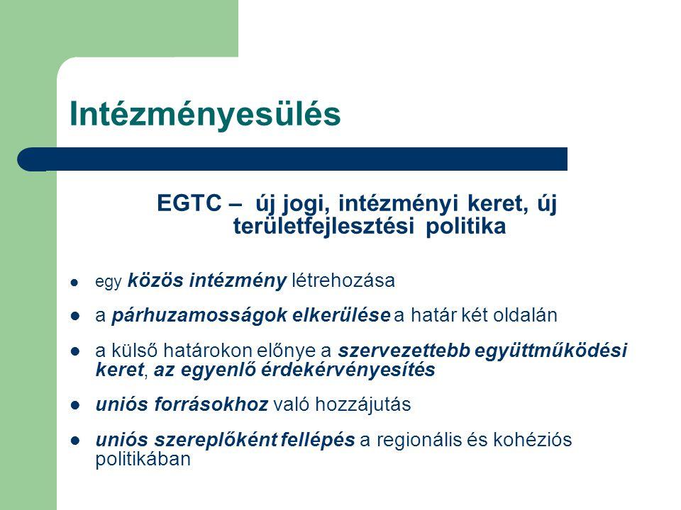 Intézményesülés EGTC – új jogi, intézményi keret, új területfejlesztési politika egy közös intézmény létrehozása a párhuzamosságok elkerülése a határ két oldalán a külső határokon előnye a szervezettebb együttműködési keret, az egyenlő érdekérvényesítés uniós forrásokhoz való hozzájutás uniós szereplőként fellépés a regionális és kohéziós politikában