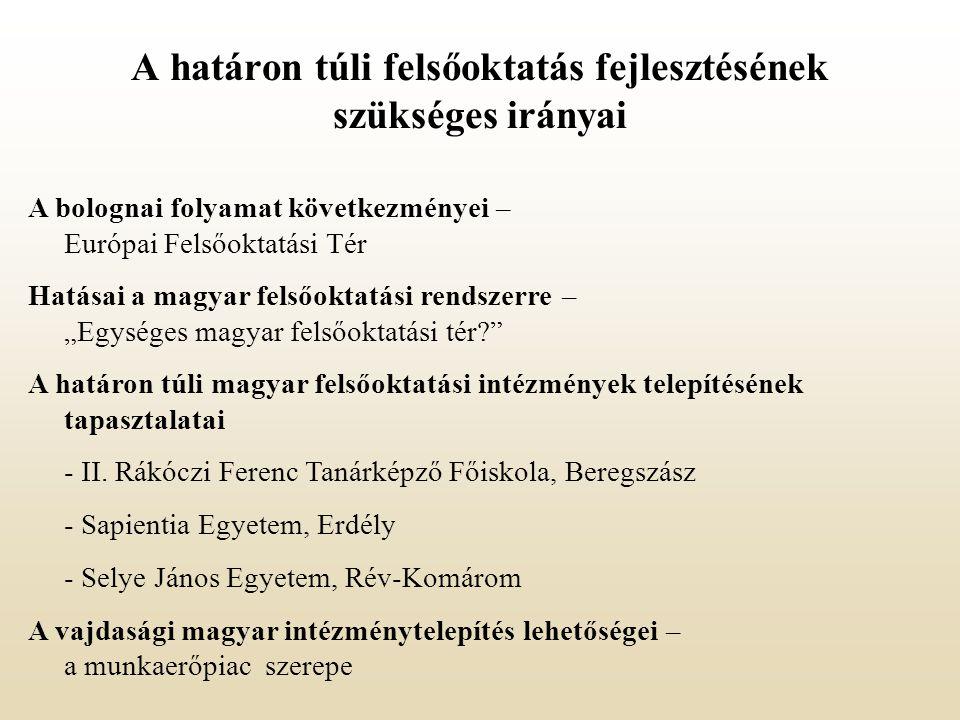 """A bolognai folyamat következményei – Európai Felsőoktatási Tér Hatásai a magyar felsőoktatási rendszerre – """"Egységes magyar felsőoktatási tér A határon túli magyar felsőoktatási intézmények telepítésének tapasztalatai - II."""