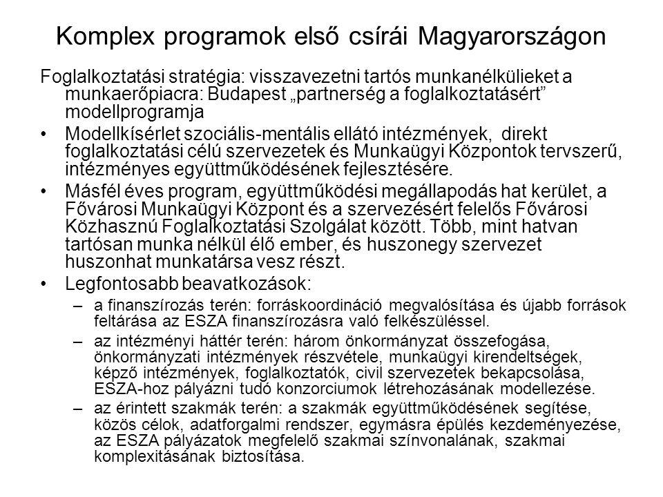 """Komplex programok első csírái Magyarországon Foglalkoztatási stratégia: visszavezetni tartós munkanélkülieket a munkaerőpiacra: Budapest """"partnerség a"""