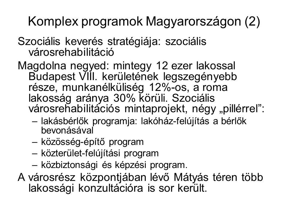 Komplex programok Magyarországon (2) Szociális keverés stratégiája: szociális városrehabilitáció Magdolna negyed: mintegy 12 ezer lakossal Budapest VI