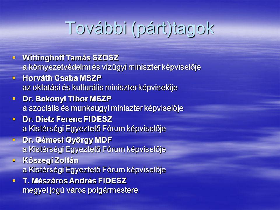 További (párt)tagok  Wittinghoff Tamás SZDSZ a környezetvédelmi és vízügyi miniszter képviselője  Horváth Csaba MSZP az oktatási és kulturális miniszter képviselője  Dr.