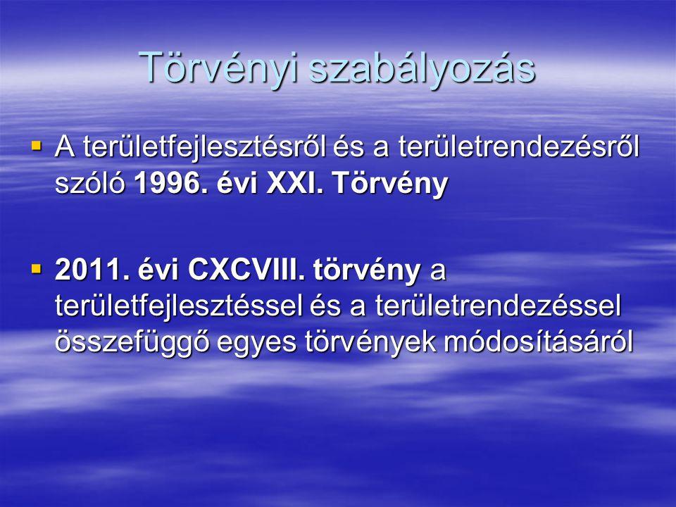 Törvényi szabályozás  A területfejlesztésről és a területrendezésről szóló 1996.