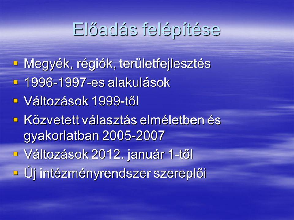 Előadás felépítése  Megyék, régiók, területfejlesztés  1996-1997-es alakulások  Változások 1999-től  Közvetett választás elméletben és gyakorlatban 2005-2007  Változások 2012.