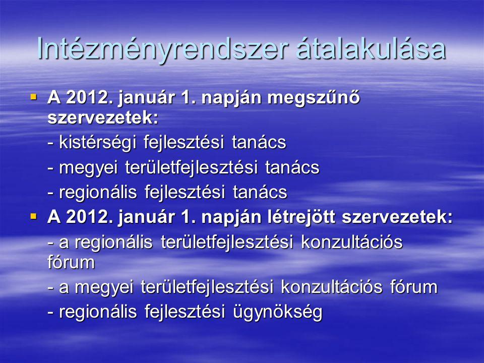 Intézményrendszer átalakulása  A 2012.január 1.