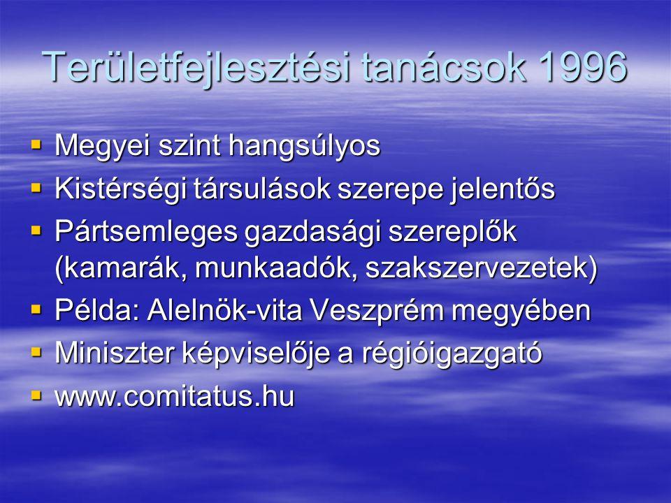 Területfejlesztési tanácsok 1996  Megyei szint hangsúlyos  Kistérségi társulások szerepe jelentős  Pártsemleges gazdasági szereplők (kamarák, munkaadók, szakszervezetek)  Példa: Alelnök-vita Veszprém megyében  Miniszter képviselője a régióigazgató  www.comitatus.hu