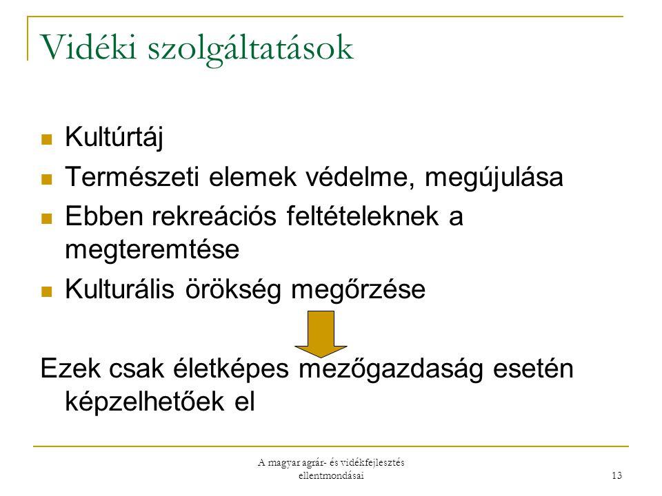 A magyar agrár- és vidékfejlesztés ellentmondásai 13 Vidéki szolgáltatások Kultúrtáj Természeti elemek védelme, megújulása Ebben rekreációs feltételeknek a megteremtése Kulturális örökség megőrzése Ezek csak életképes mezőgazdaság esetén képzelhetőek el