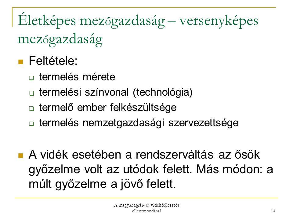 A magyar agrár- és vidékfejlesztés ellentmondásai 14 Életképes mez ő gazdaság – versenyképes mez ő gazdaság Feltétele:  termelés mérete  termelési színvonal (technológia)  termelő ember felkészültsége  termelés nemzetgazdasági szervezettsége A vidék esetében a rendszerváltás az ősök győzelme volt az utódok felett.