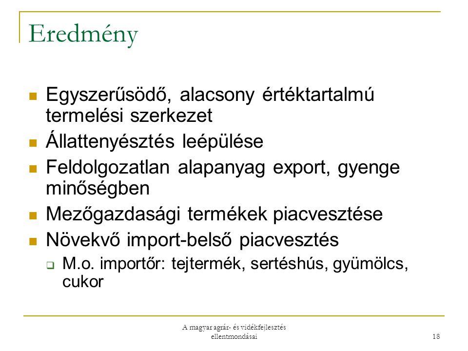 A magyar agrár- és vidékfejlesztés ellentmondásai 18 Eredmény Egyszerűsödő, alacsony értéktartalmú termelési szerkezet Állattenyésztés leépülése Feldolgozatlan alapanyag export, gyenge minőségben Mezőgazdasági termékek piacvesztése Növekvő import-belső piacvesztés  M.o.