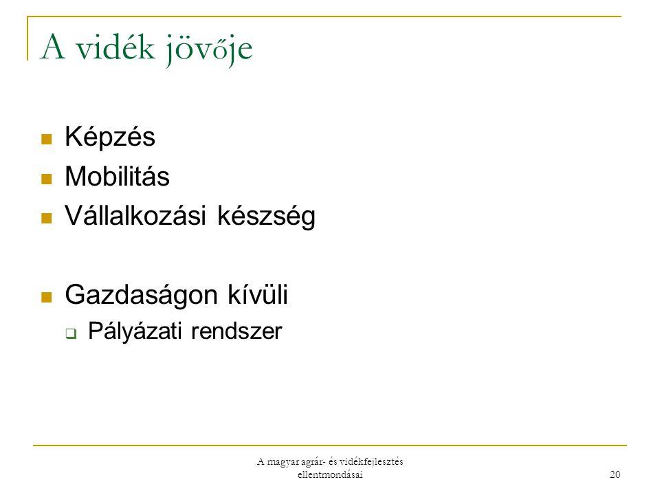 A magyar agrár- és vidékfejlesztés ellentmondásai 20 A vidék jöv ő je Képzés Mobilitás Vállalkozási készség Gazdaságon kívüli  Pályázati rendszer