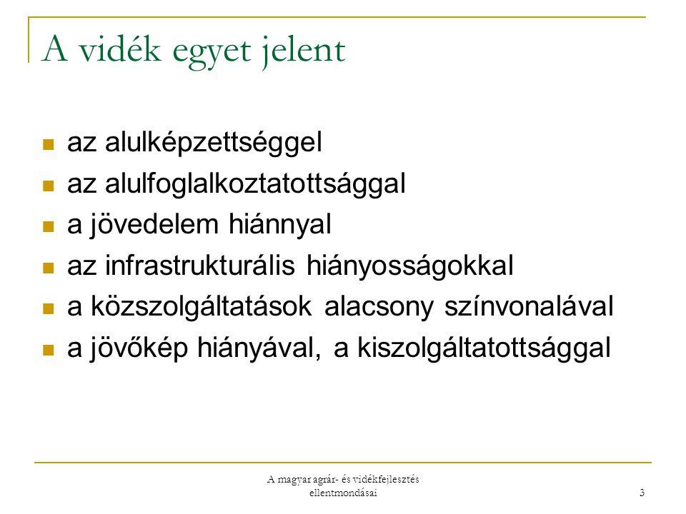 A magyar agrár- és vidékfejlesztés ellentmondásai 3 A vidék egyet jelent az alulképzettséggel az alulfoglalkoztatottsággal a jövedelem hiánnyal az infrastrukturális hiányosságokkal a közszolgáltatások alacsony színvonalával a jövőkép hiányával, a kiszolgáltatottsággal