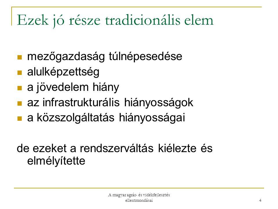 A magyar agrár- és vidékfejlesztés ellentmondásai 4 Ezek jó része tradicionális elem mezőgazdaság túlnépesedése alulképzettség a jövedelem hiány az infrastrukturális hiányosságok a közszolgáltatás hiányosságai de ezeket a rendszerváltás kiélezte és elmélyítette