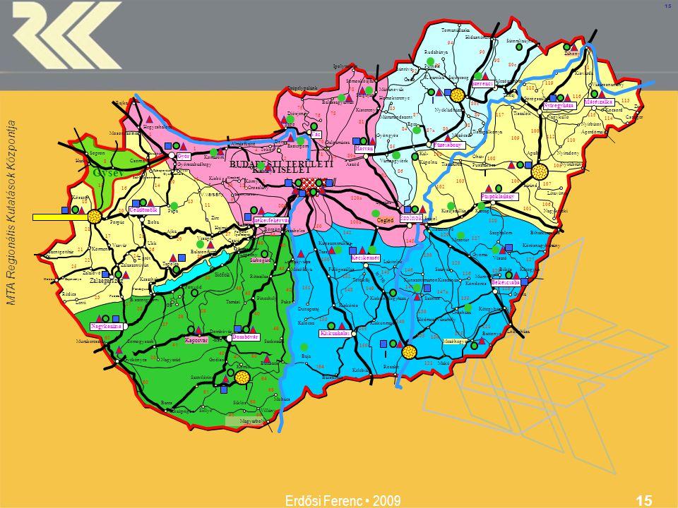 MTA Regionális Kutatások Központja Erdősi Ferenc 2009 15 Komárom 15 20 17 23 21 22 21 24 26 18 25 15 8 11 10 14 16 13 1 1 12 150 81 80a Ózd 94 118 119