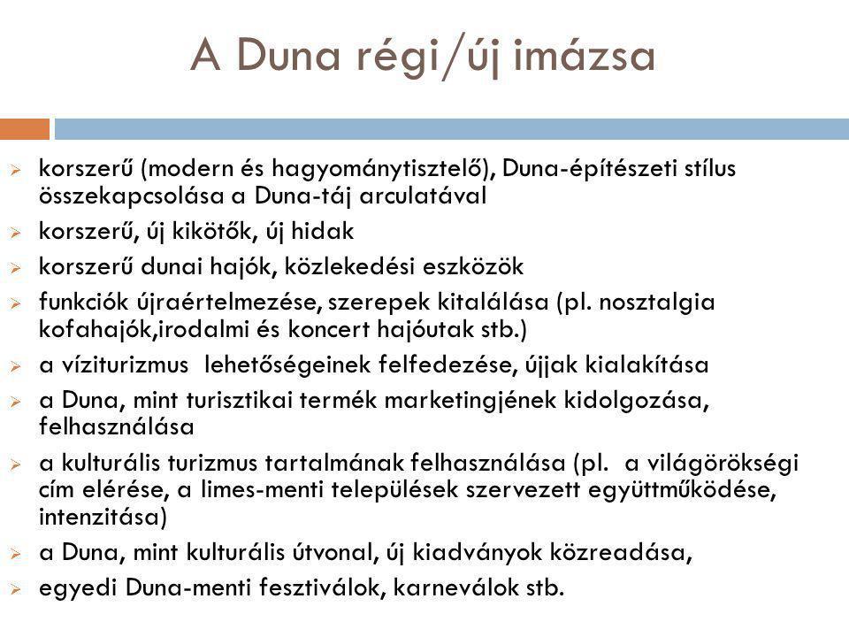 A Duna régi/új imázsa  korszerű (modern és hagyománytisztelő), Duna-építészeti stílus összekapcsolása a Duna-táj arculatával  korszerű, új kikötők, új hidak  korszerű dunai hajók, közlekedési eszközök  funkciók újraértelmezése, szerepek kitalálása (pl.