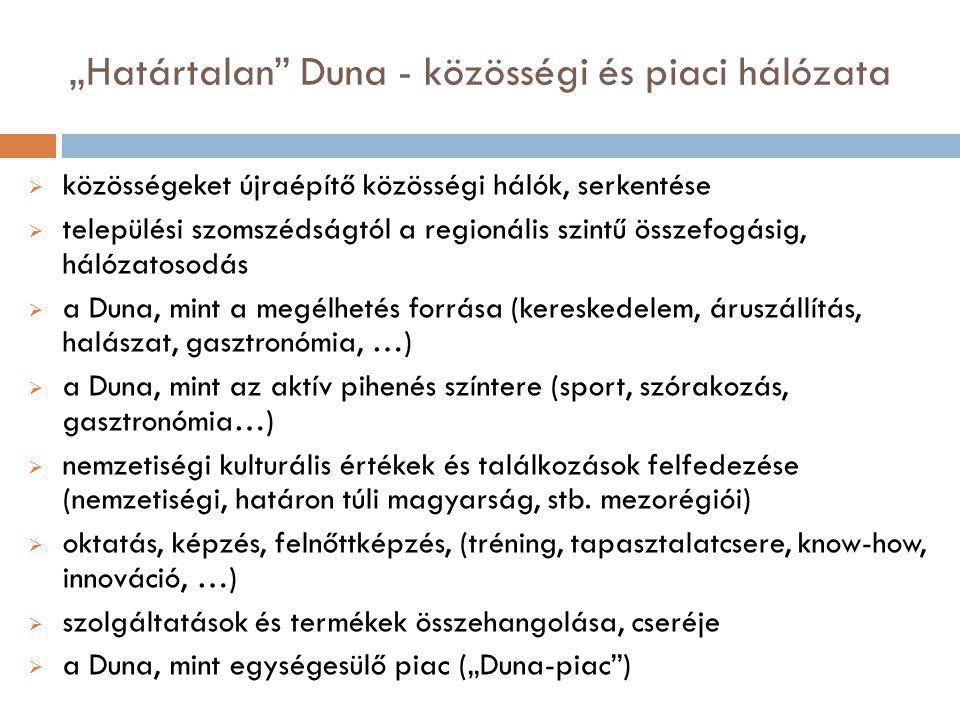 """""""Határtalan Duna - közösségi és piaci hálózata  közösségeket újraépítő közösségi hálók, serkentése  települési szomszédságtól a regionális szintű összefogásig, hálózatosodás  a Duna, mint a megélhetés forrása (kereskedelem, áruszállítás, halászat, gasztronómia, …)  a Duna, mint az aktív pihenés színtere (sport, szórakozás, gasztronómia…)  nemzetiségi kulturális értékek és találkozások felfedezése (nemzetiségi, határon túli magyarság, stb."""