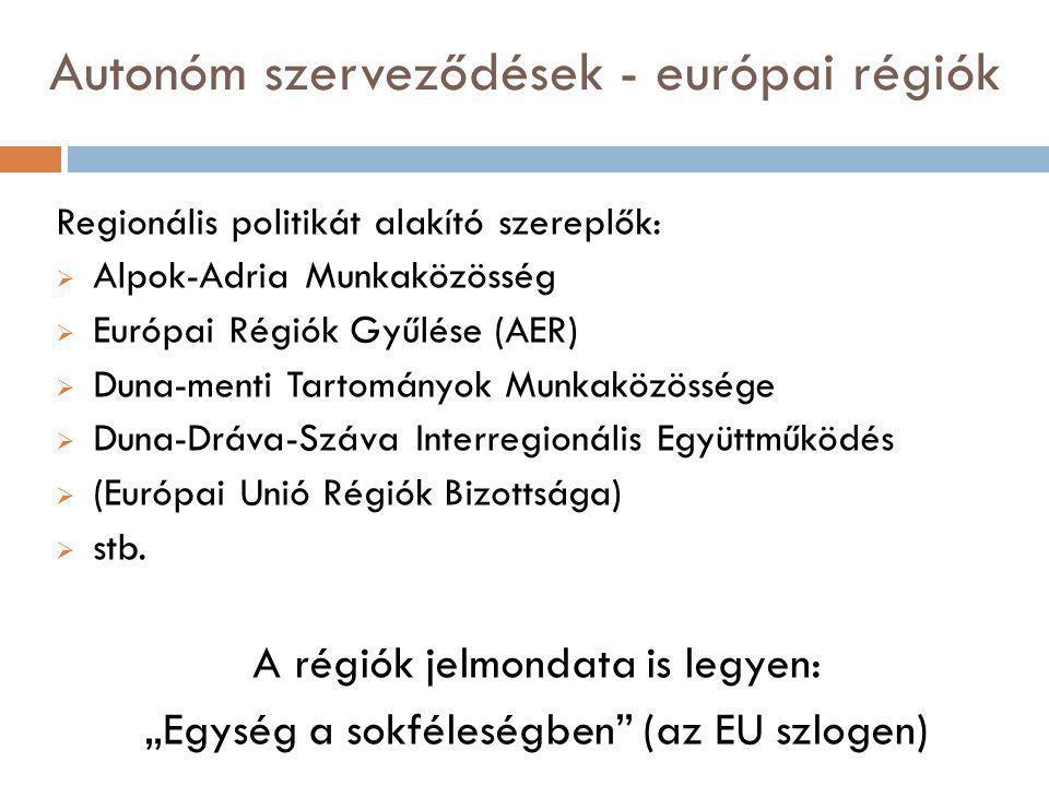 Autonóm szerveződések - európai régiók Regionális politikát alakító szereplők:  Alpok-Adria Munkaközösség  Európai Régiók Gyűlése (AER)  Duna-menti Tartományok Munkaközössége  Duna-Dráva-Száva Interregionális Együttműködés  (Európai Unió Régiók Bizottsága)  stb.