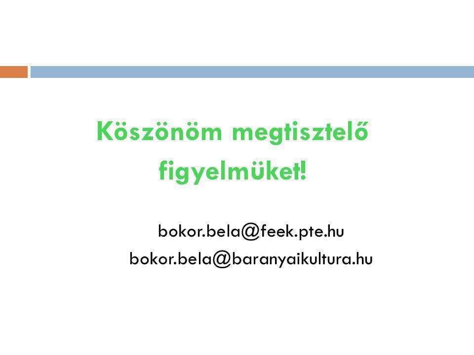 Köszönöm megtisztelő figyelmüket! bokor.bela@feek.pte.hu bokor.bela@baranyaikultura.hu