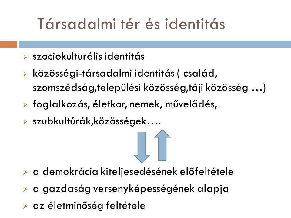  szociokulturális identitás  közösségi-társadalmi identitás ( család, szomszédság,települési közösség,táji közösség …)  foglalkozás, életkor, nemek, művelődés,  szubkultúrák,közösségek….