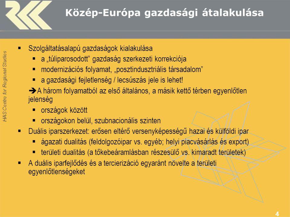 """HAS Centre for Regional Studies 4 Közép-Európa gazdasági átalakulása  Szolgáltatásalapú gazdaságok kialakulása  a """"túliparosodott gazdaság szerkezeti korrekciója  modernizációs folyamat, """"posztindusztriális társadalom  a gazdasági fejletlenség / lecsúszás jele is lehet."""