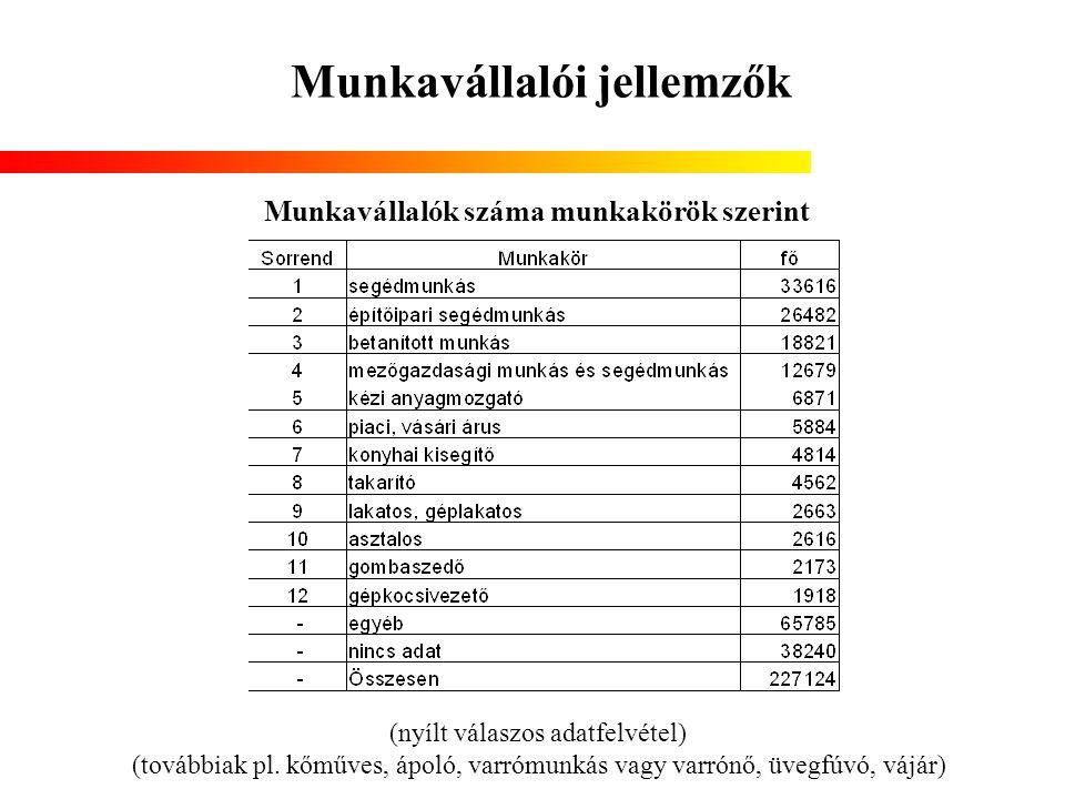 Munkavállalói jellemzők Munkavállalók száma munkakörök szerint (nyílt válaszos adatfelvétel) (továbbiak pl. kőműves, ápoló, varrómunkás vagy varrónő,