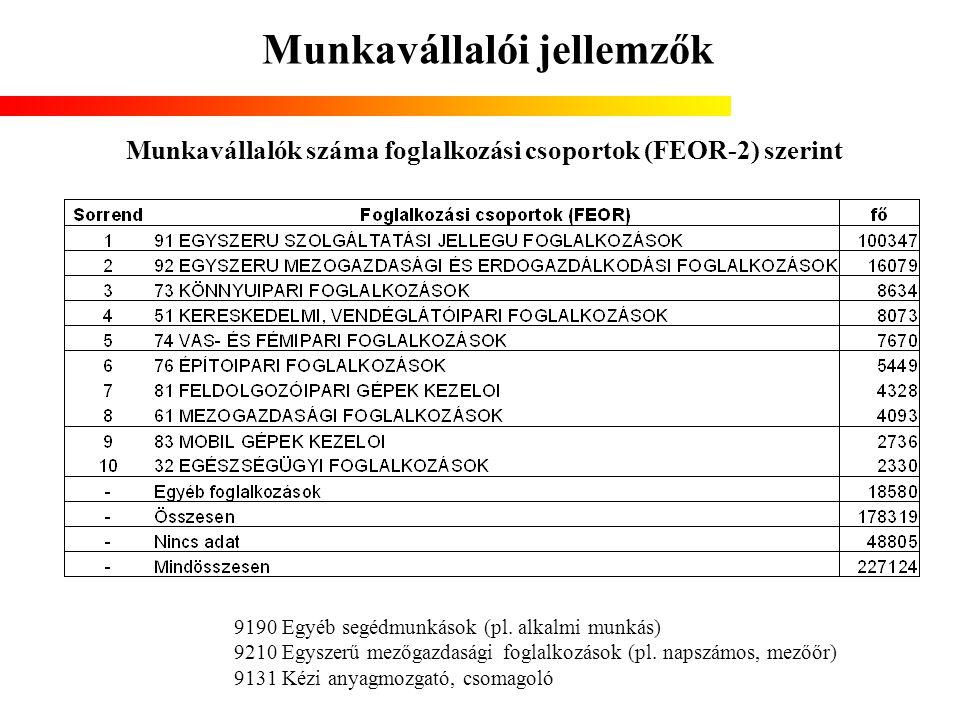 Munkavállalói jellemzők Munkavállalók száma foglalkozási csoportok (FEOR-2) szerint 9190 Egyéb segédmunkások (pl. alkalmi munkás) 9210 Egyszerű mezőga